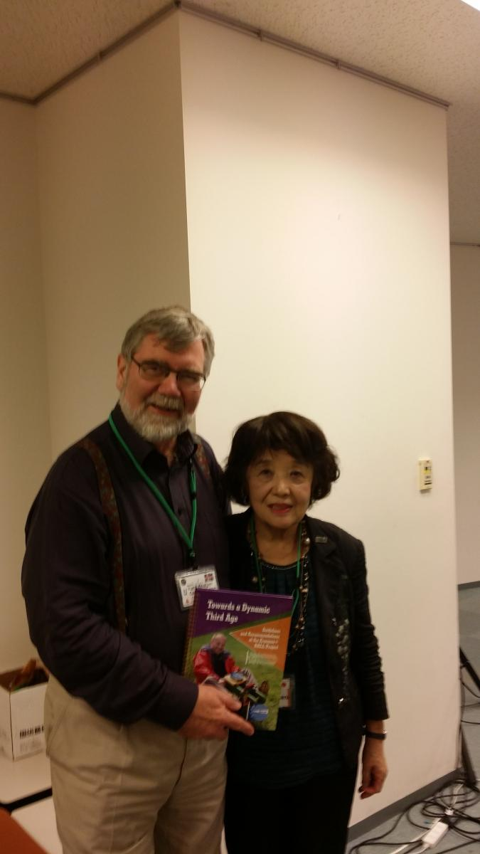 Mrs Akiko Tsukatani, director of the Age Concern Japan (Japan U3A) organizer of the conference, receiving a hard copy of the BALL recommendations